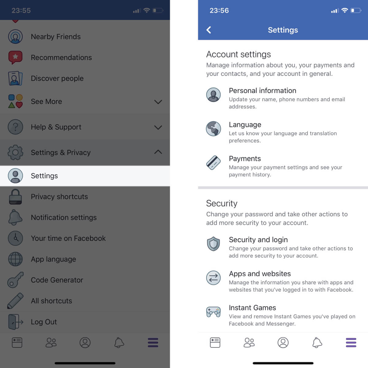 Screenshots showing how to access your Facebook settings.