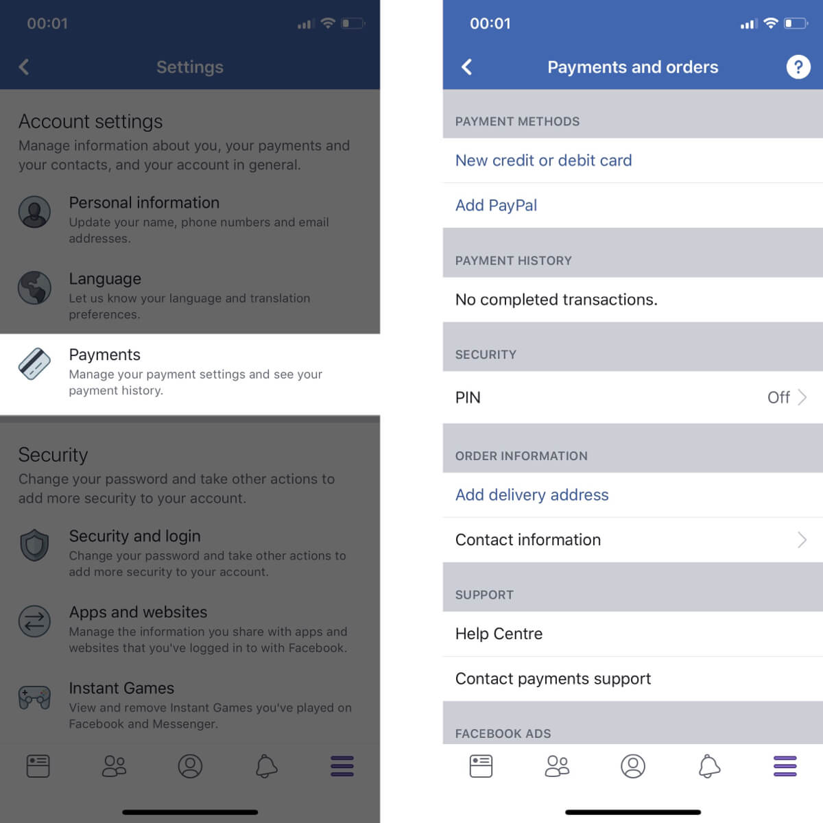 Screenshots showing how to access your payment settings on Facebook.