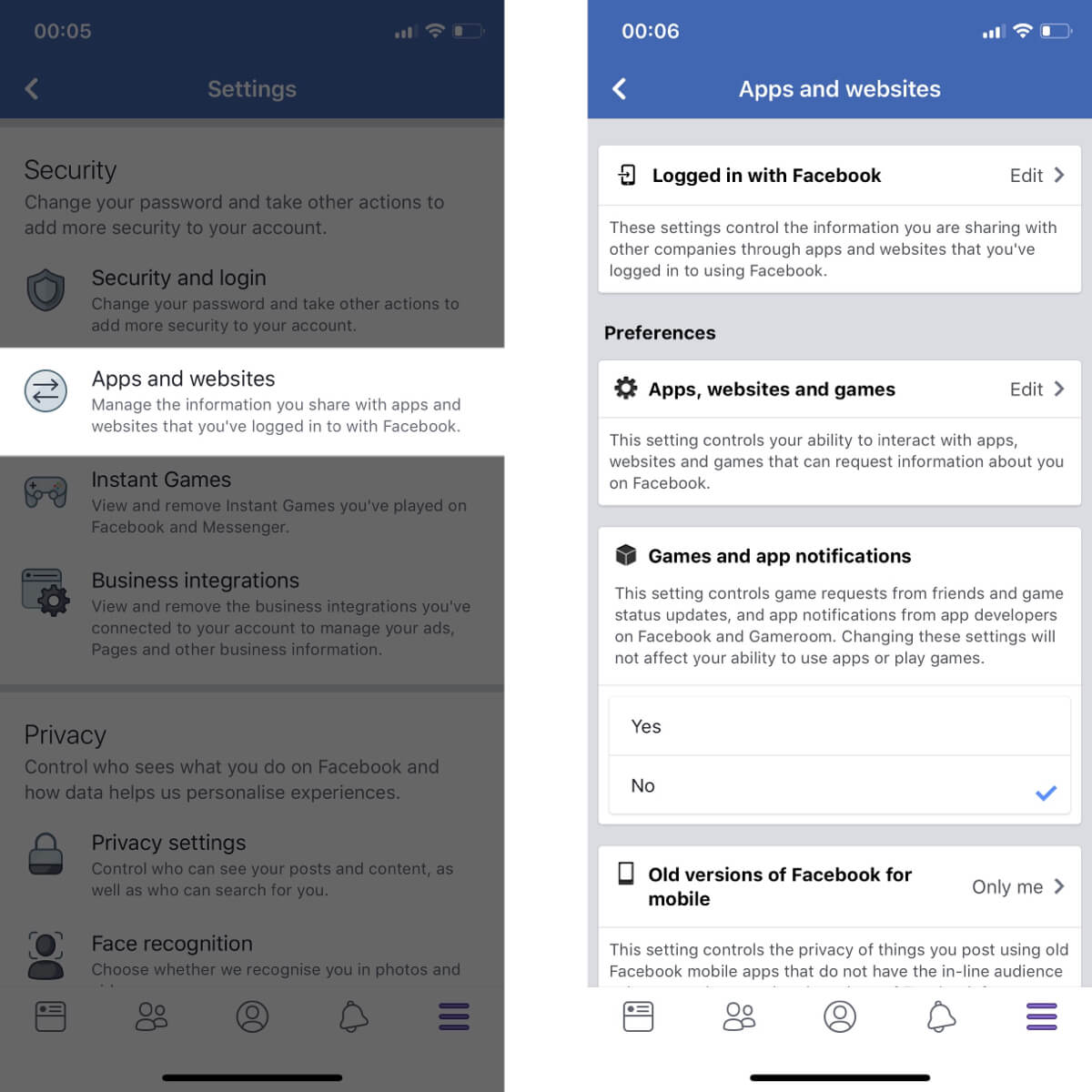 Screenshots showing how to access your app and website settings on Facebook.