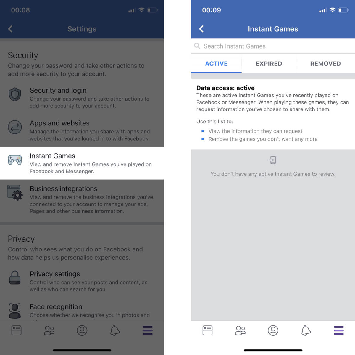 Screenshots showing how to access your instant game settings on Facebook.