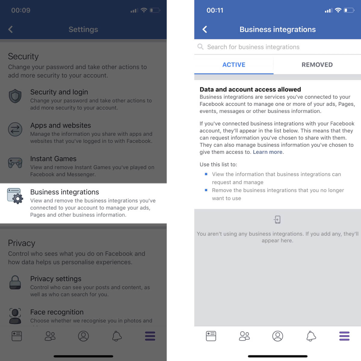 Screenshots showing how to access your business integration settings on Facebook.