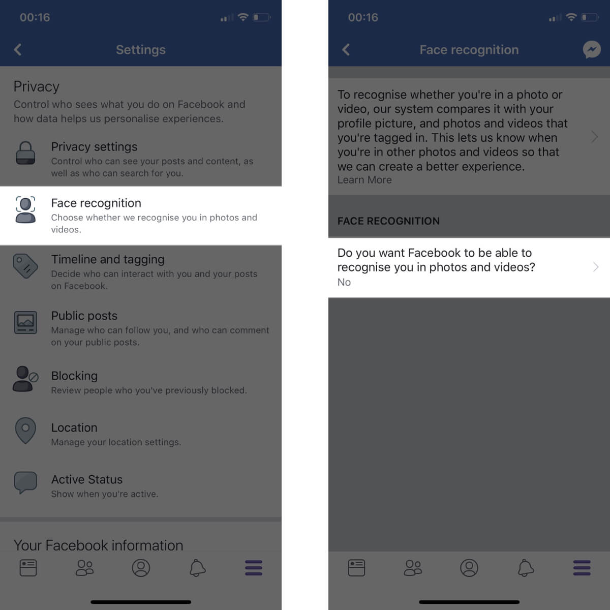 Screenshots showing how to access and change your face recognition settings on Facebook.