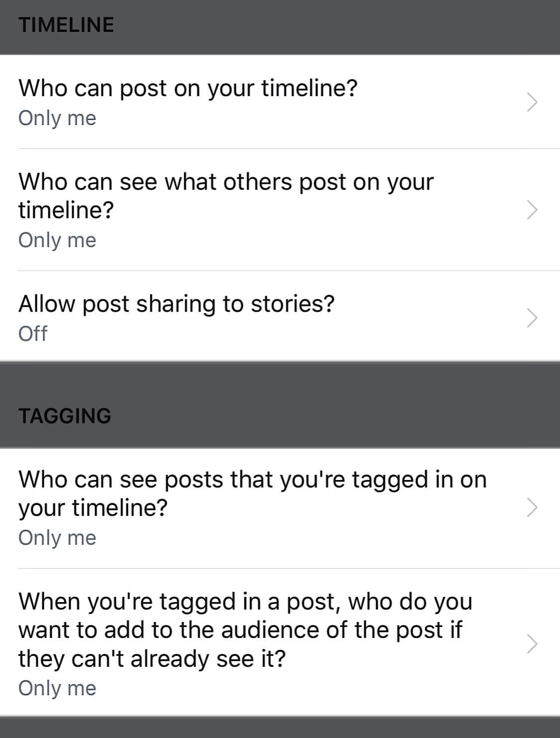 Screenshots showing the specific timeline and tagging settings you should change to limit data collection on Facebook.
