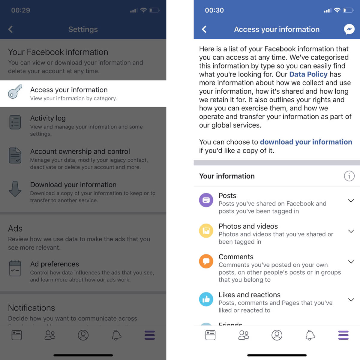 Screenshots showing how to open the access your information settings on Facebook.