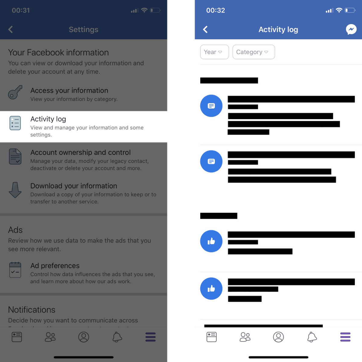 Screenshots showing how to view your activity log on Facebook.