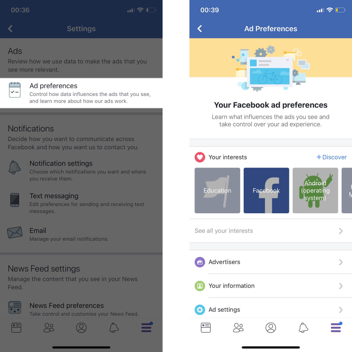 Screenshots showing how to access your ad preference settings on Facebook.