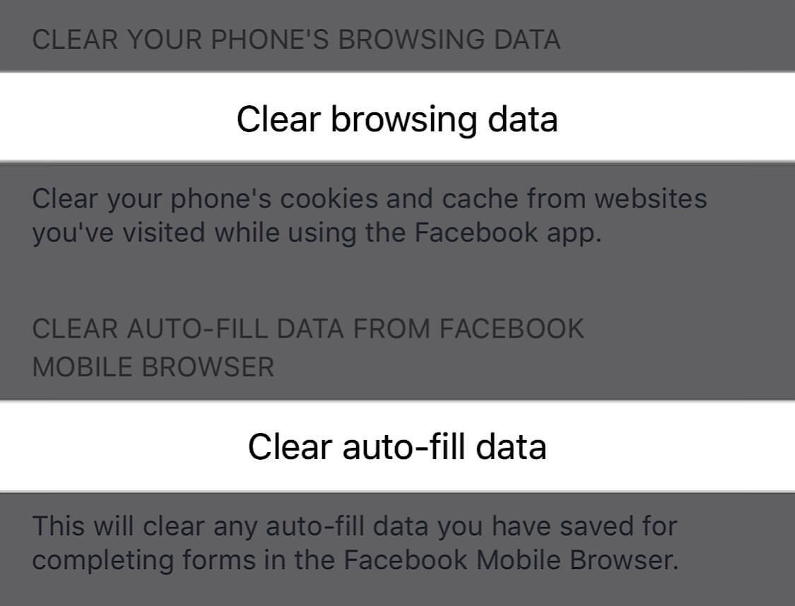 Screenshots showing the specific browser settings you should change to clear your browsing data on Facebook.