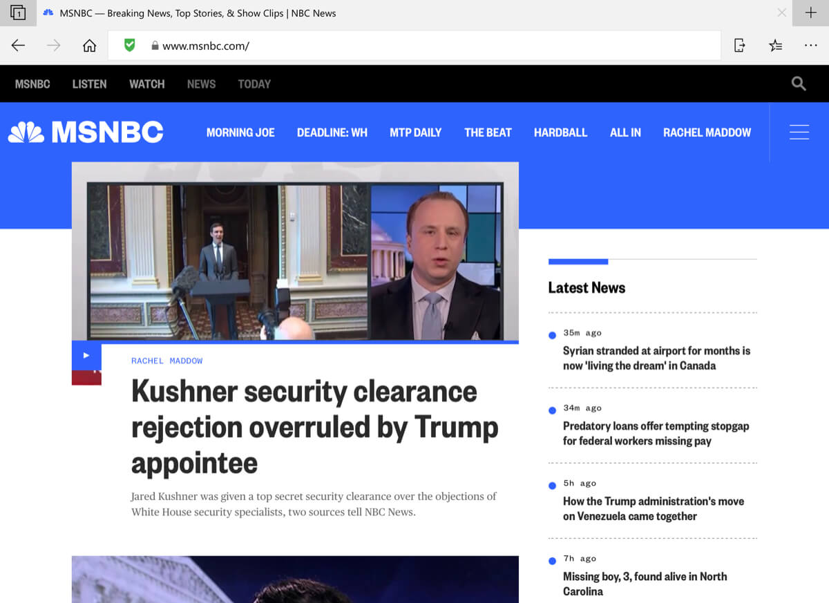 A screenshot of the MSNBC homepage in the Microsoft Edge iOS browser with NewsGuard enabled.