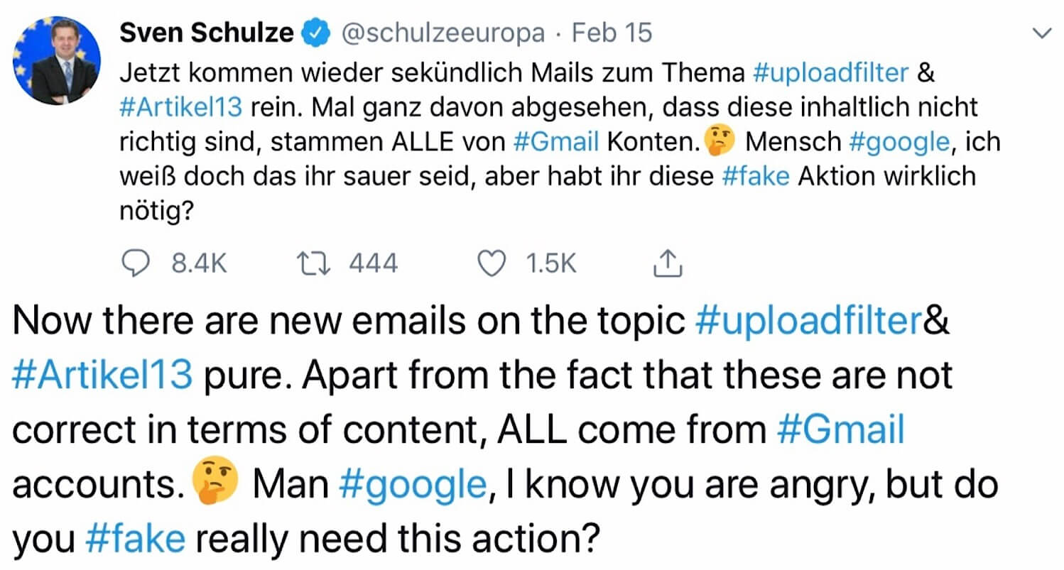 A tweet from @schulzeeuropa claiming that Google is creating fake Gmail messages to oppose Article 13.