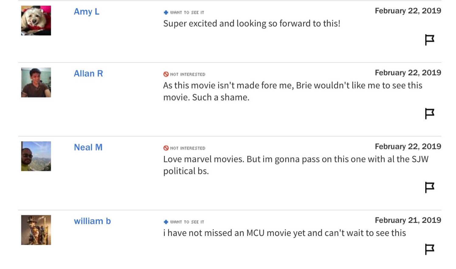 "Pre-release user comments on Captain Marvel saying whether they ""Want to See It"" or are ""Not Interested."""