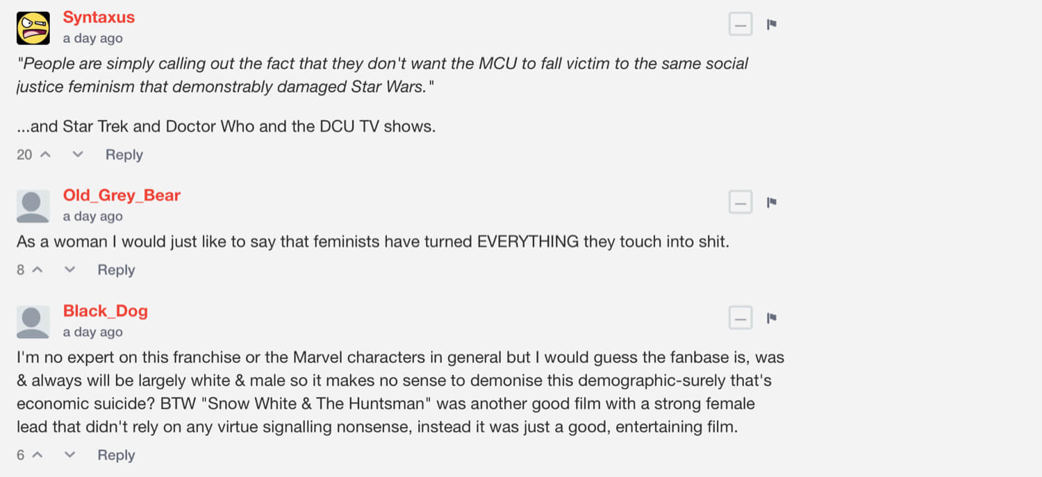 BitChute comments on Computing Forever's video about Captain Marvel.