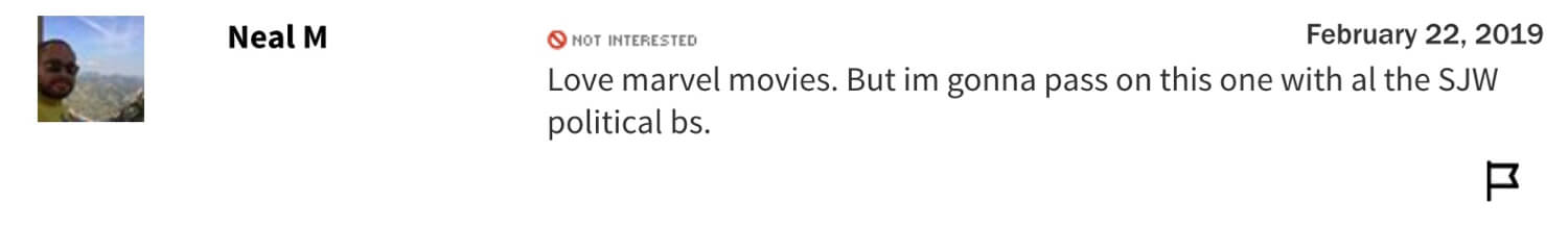 Archived Captain Marvel user comments from Rotten Tomatoes.