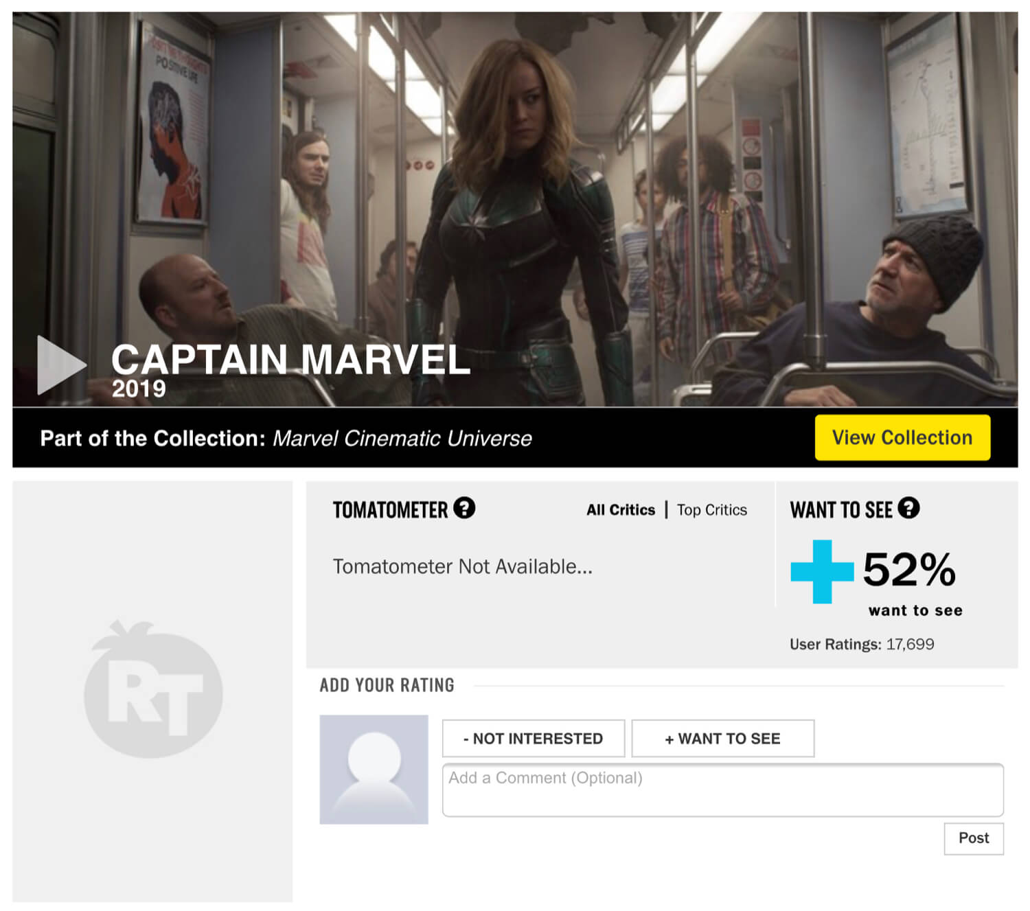 """The Captain Marvel Rotten Tomatoes page with a """"Want to See"""" score before the changes to the Audience Rating System."""