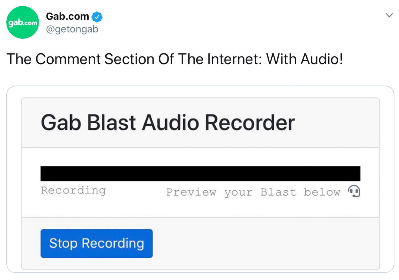 The Gab Blast Audio Recorder feature.
