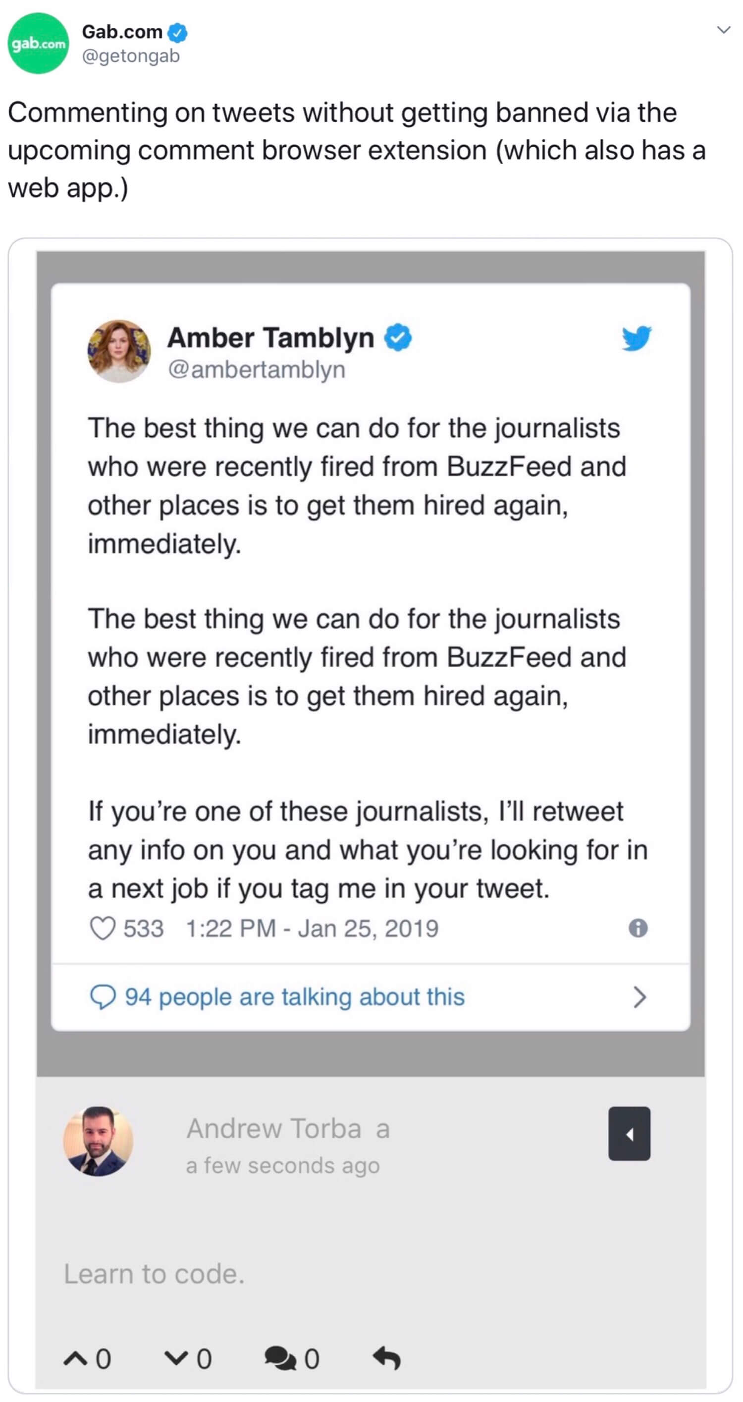 The Dissenter browser extension being used on a tweet from @ambertamblyn.
