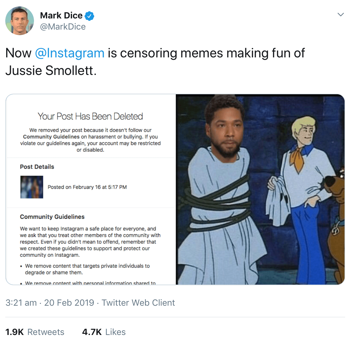 A tweet displaying the message Instagram sent to Mark Dice after deleting his post (left) and the meme that was deleted (right).