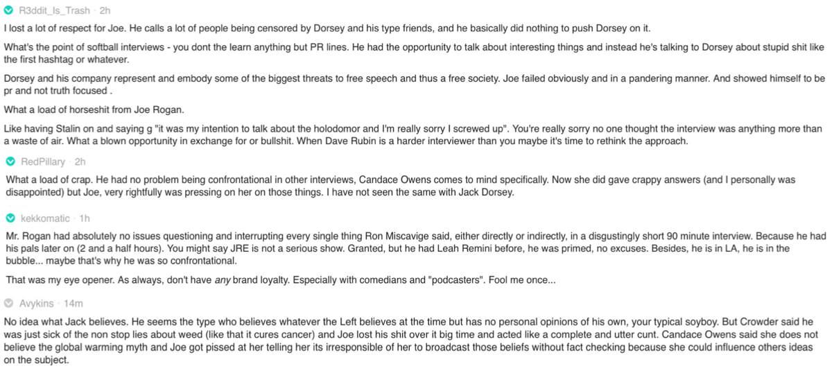 Reddit comments on the Joe Rogan/Jack Dorsey podcast fallout.
