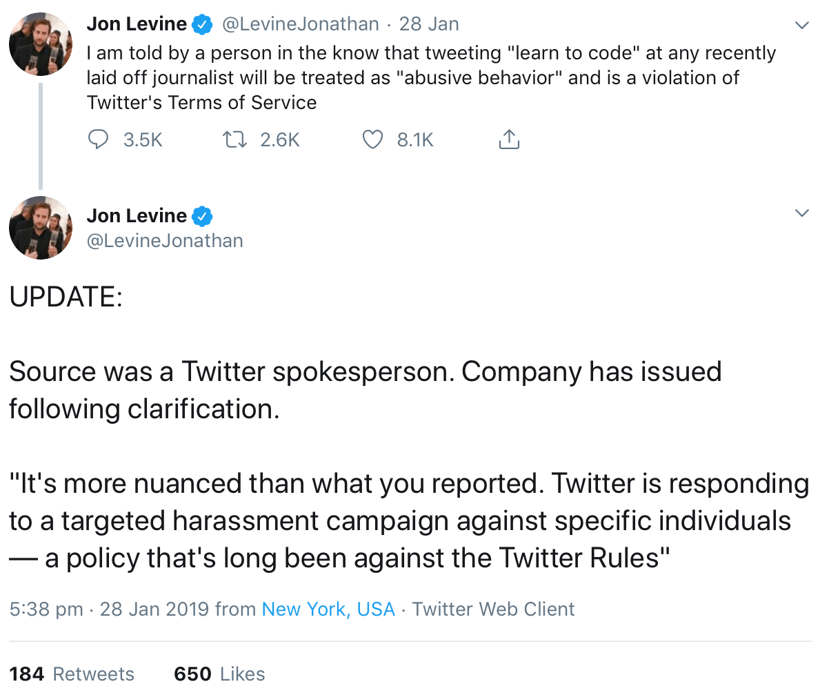 """A tweet giving an update on Twitter's policies in relation to the """"learn to code"""" meme."""