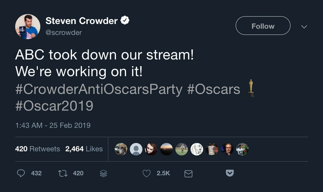Steven Crowder's tweet announcing the Anti-Oscars Party stream had been taken down.