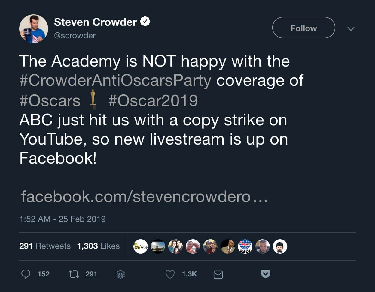 Steven Crowder's tweet announcing the Anti-Oscars Party stream being back up on Facebook.