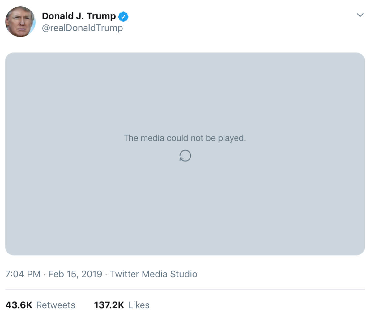 Trump's tweet containing the now disabled meme video.