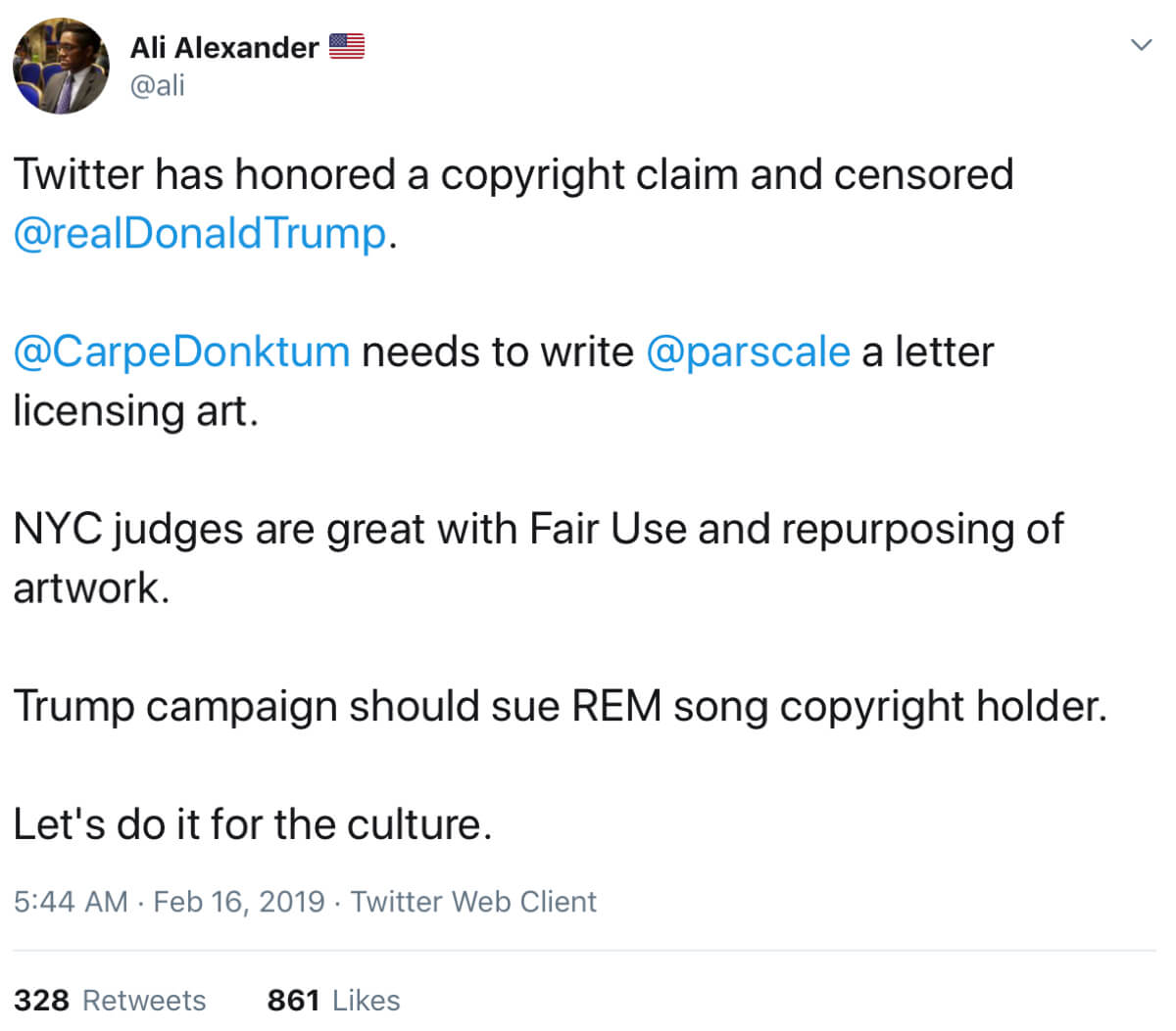 A tweet from Ali Alexander reacting to Universal's bogus copyright claim.