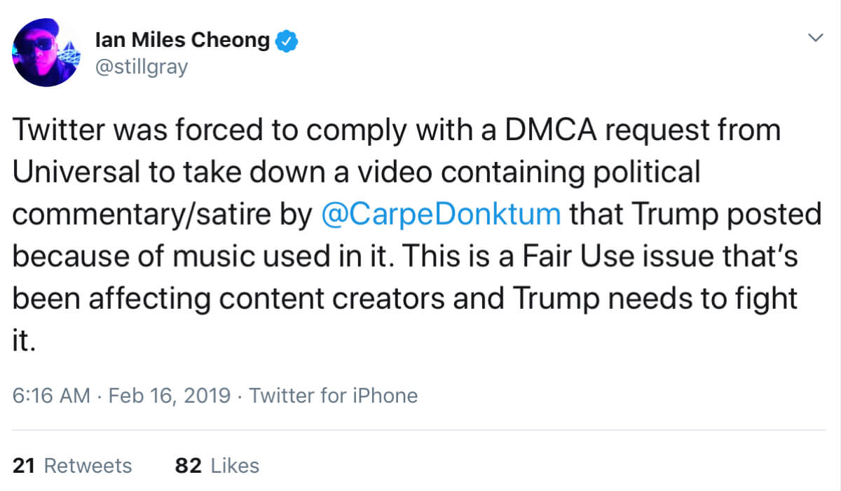 A tweet from Ian Miles Cheong reacting to Universal's bogus copyright claim.