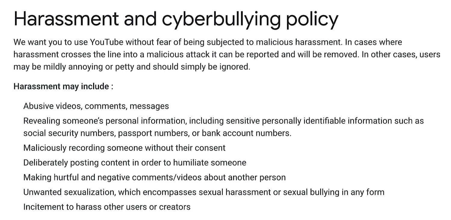 YouTube's old harassment and cyberbullying policy with no reference to claiming that victims of public violent incidents are making false claims.