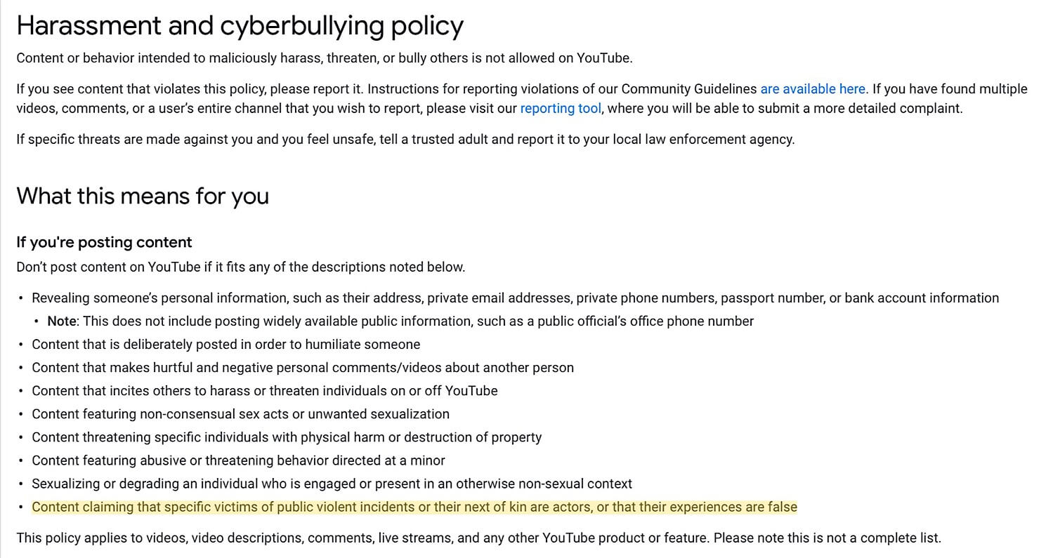YouTube's current harassment and cyberbullying policy with the new community guidelines violation which prohibits suggesting victims of violent crime are making false claims.