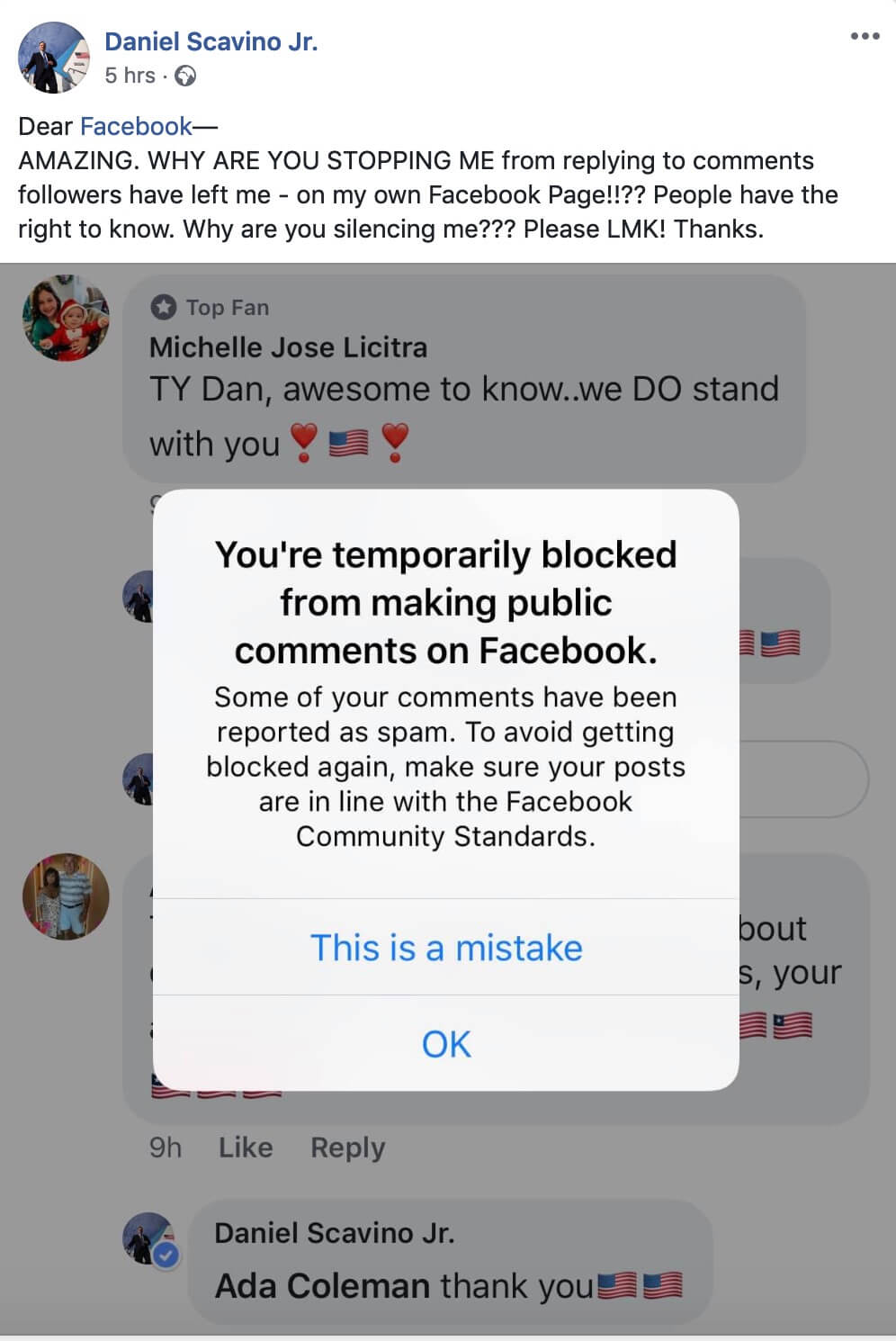 Why did facebook block me