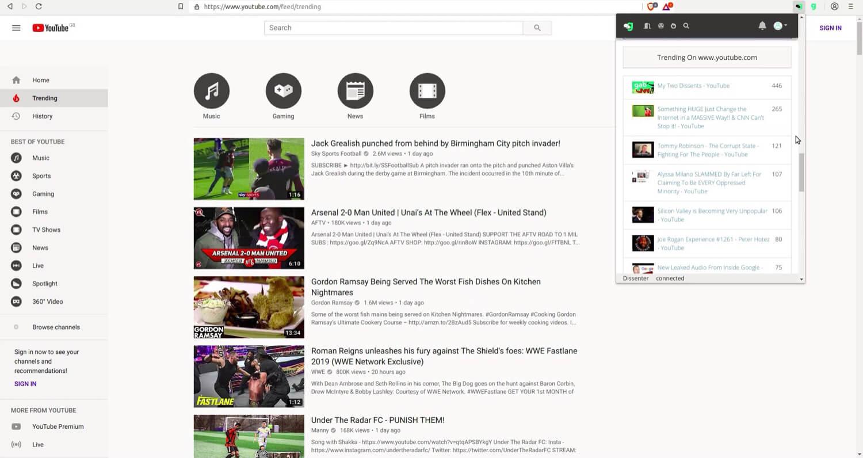 The Dissenter trending section for YouTube.