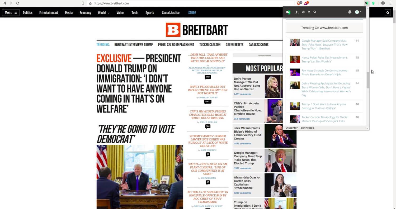 The Dissenter trending section for Breitbart.