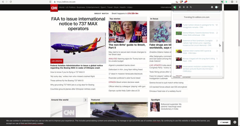 The Dissenter trending section for CNN.