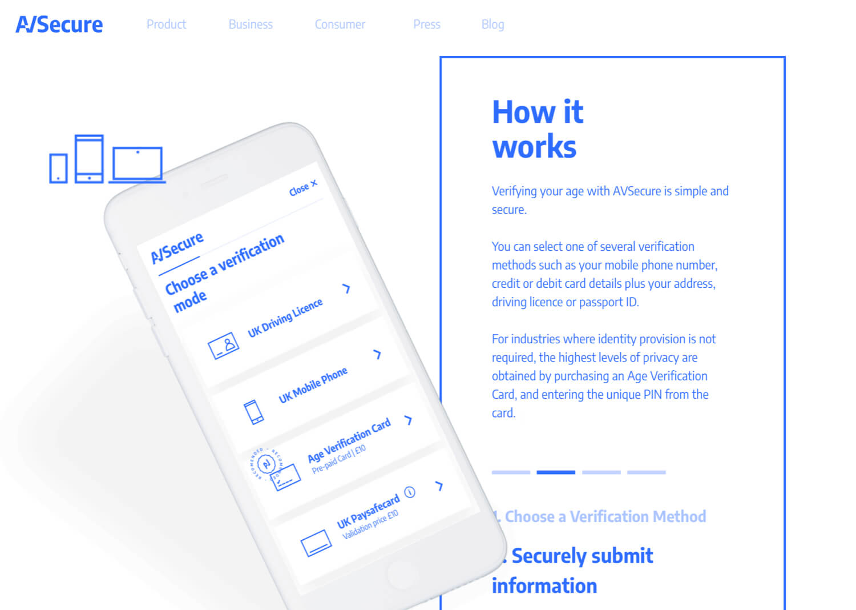 The AVSecure homepage.
