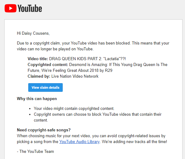 "The full photo of the second fake copyright claim from Live Nation Video Network for Daisy Cousens' video titled ""DRAG QUEEN KIDS PART 2: Lactatia??!"""