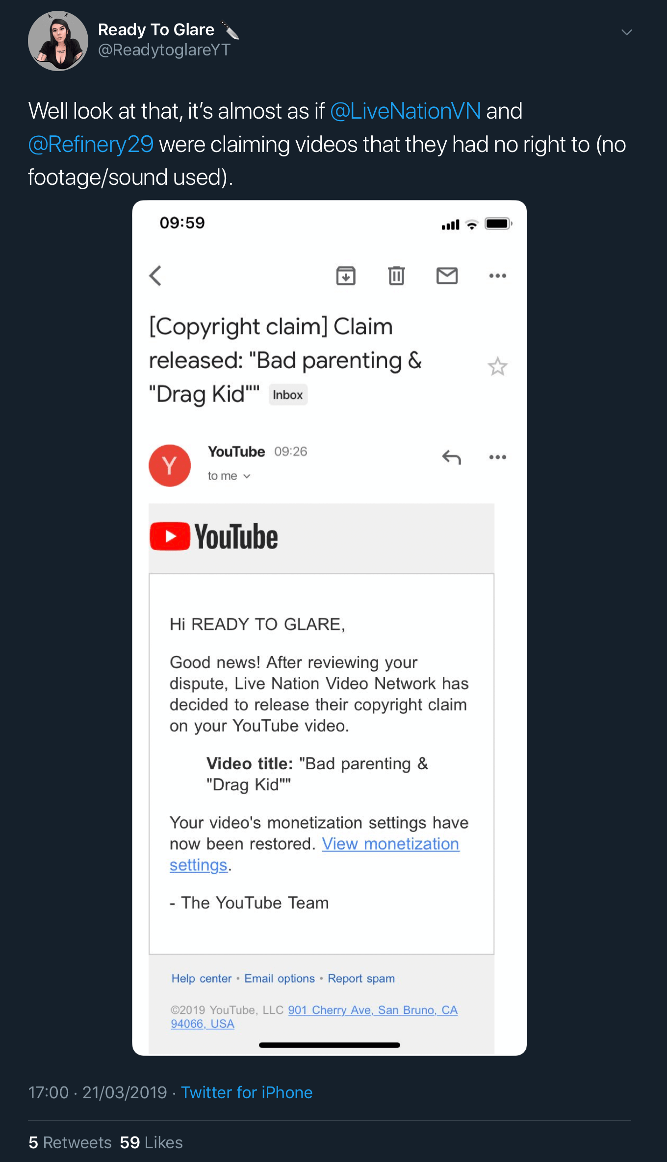 A tweet showing that the fake copyright claims against Ready To Glare's video have been dropped.