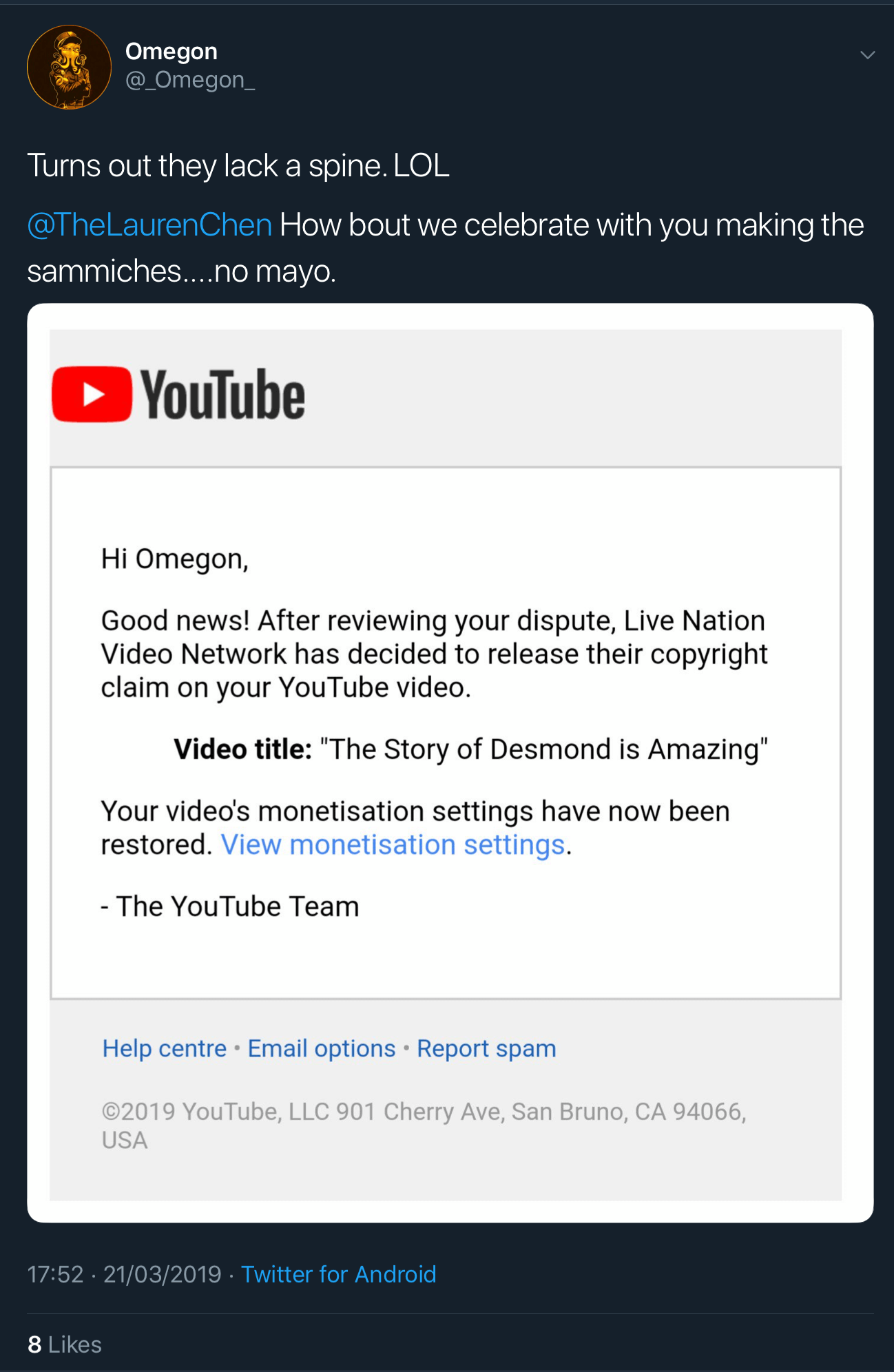 A tweet showing that the fake copyright claim against Omegon's video has been released.