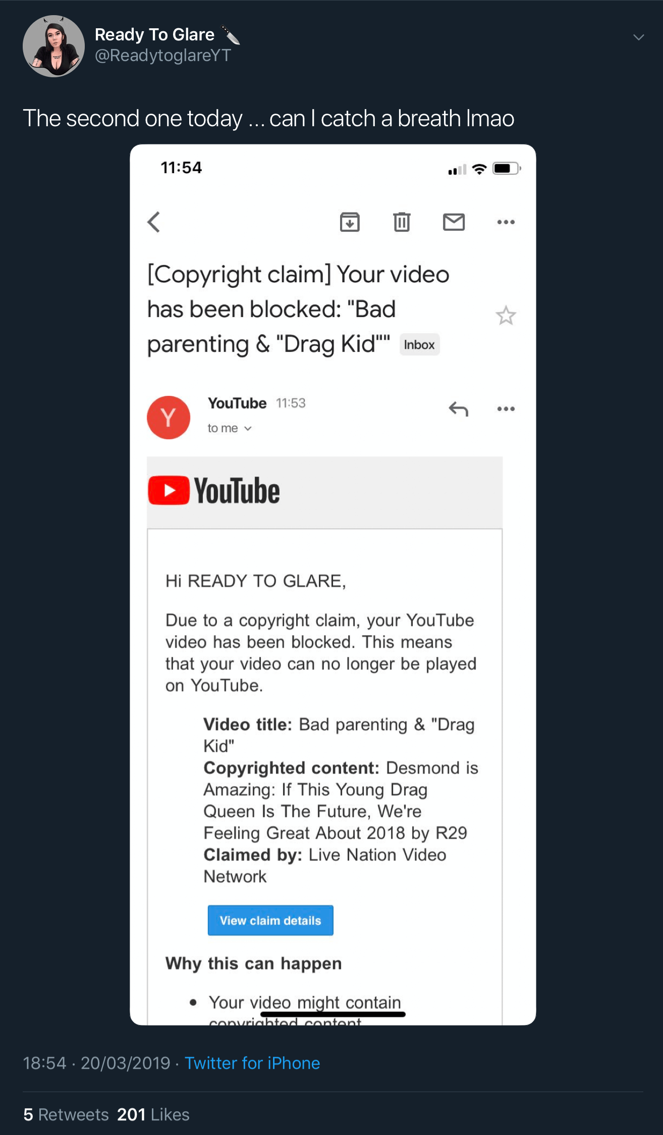 "A tweet showing the third fake YouTube copyright claim against Ready To Glare for her video titled ""Bad Parenting & Drag Kid."""