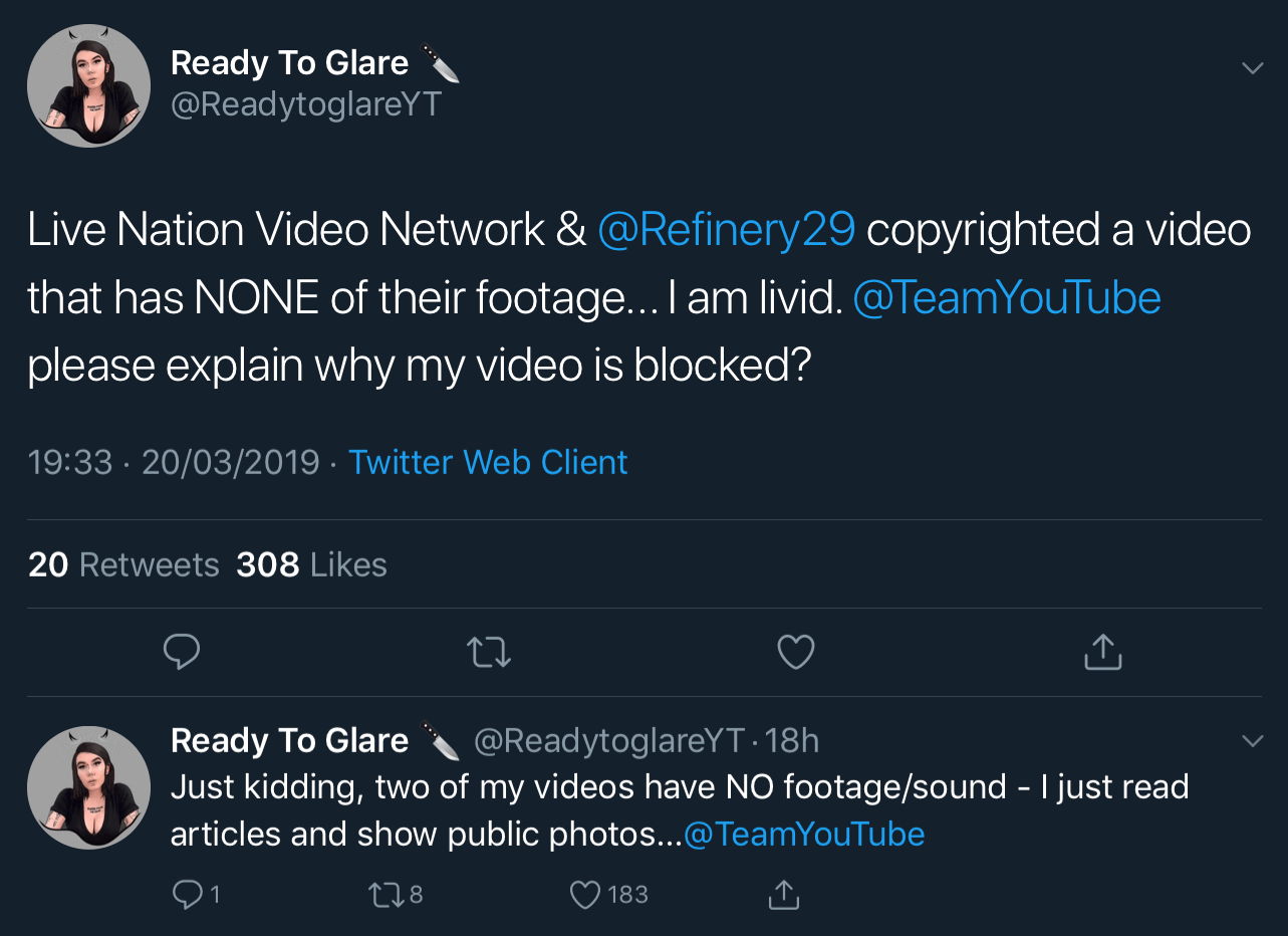A tweet thread from Ready To Glare explaining that she uses no footage from Live Nation Video Network or Refinery29 and that she just reads articles and shows public photos.