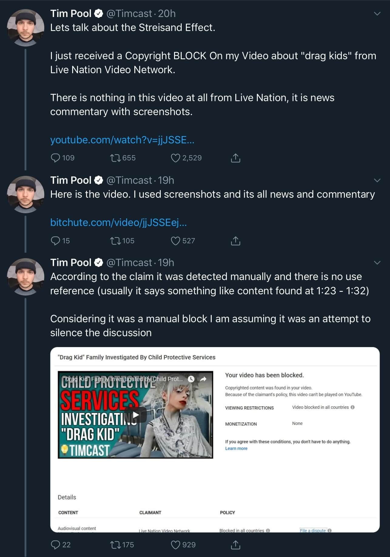 A tweet thread from Tim Pool showing the fake copyright claim from Live Nation Video Network for his video about Desmond The Drag Kid.