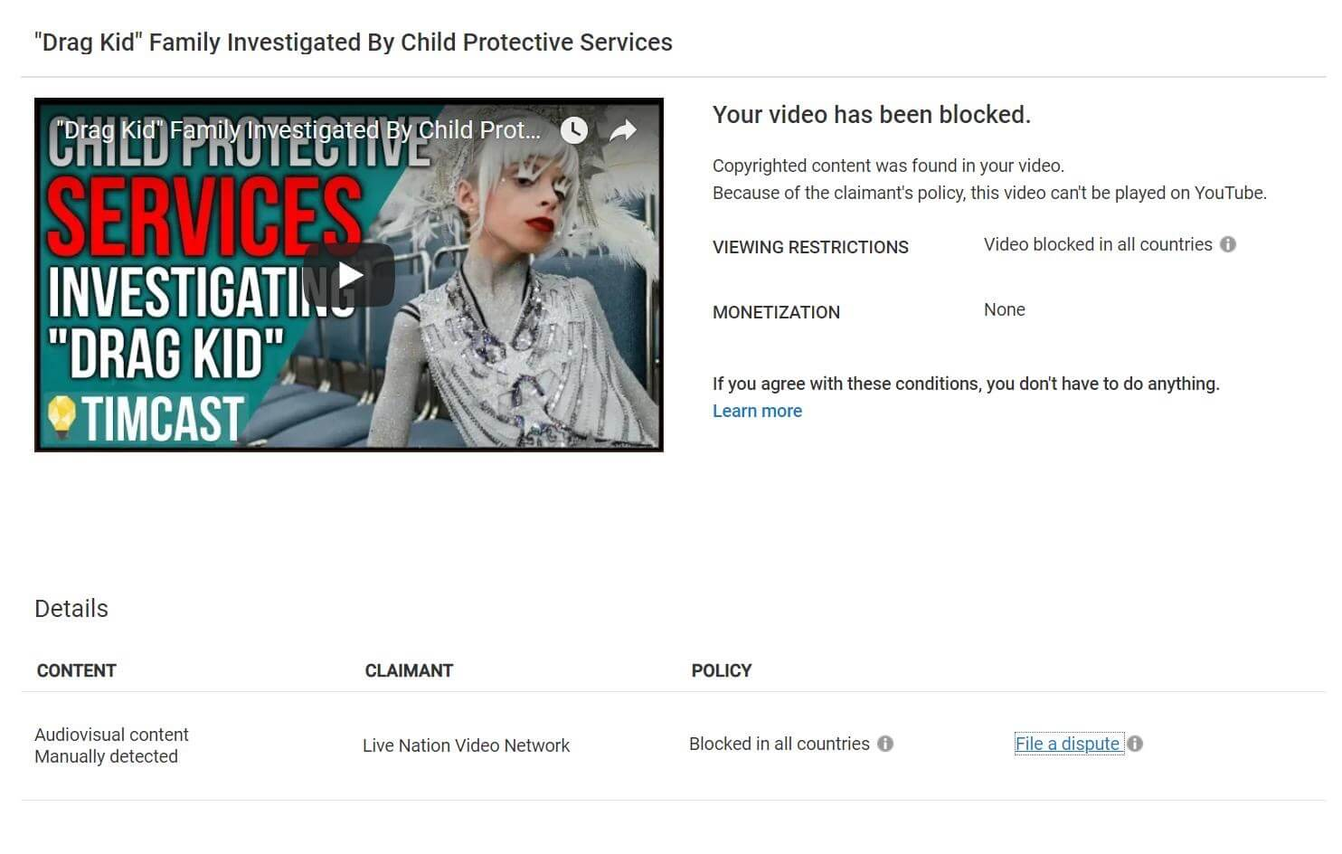 The full photo of the fake copyright claim from Live Nation Video Network for Tim Pool's video about Desmond The Drag Kid.