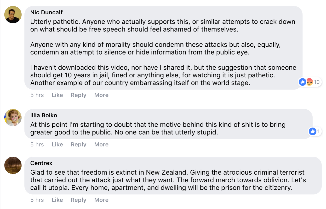 Replies to the New Zealand police's announcement that it's a criminal offense to share, download, or own videos of the New Zealand mass shooting.