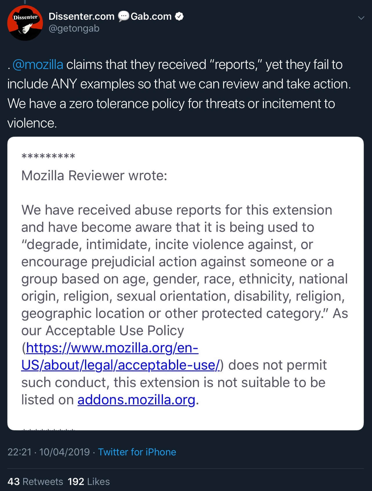The email from Mozilla providing further details on how Dissenter violated its Acceptable Use Policy.