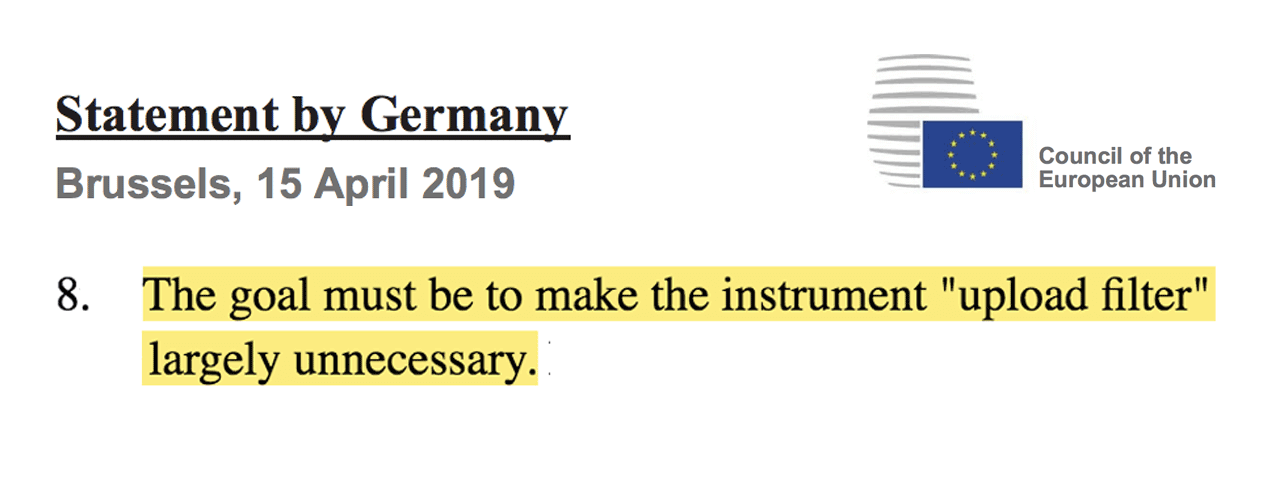 Germany's statement rejecting Article 13's requirement for online platforms to start using upload filters.