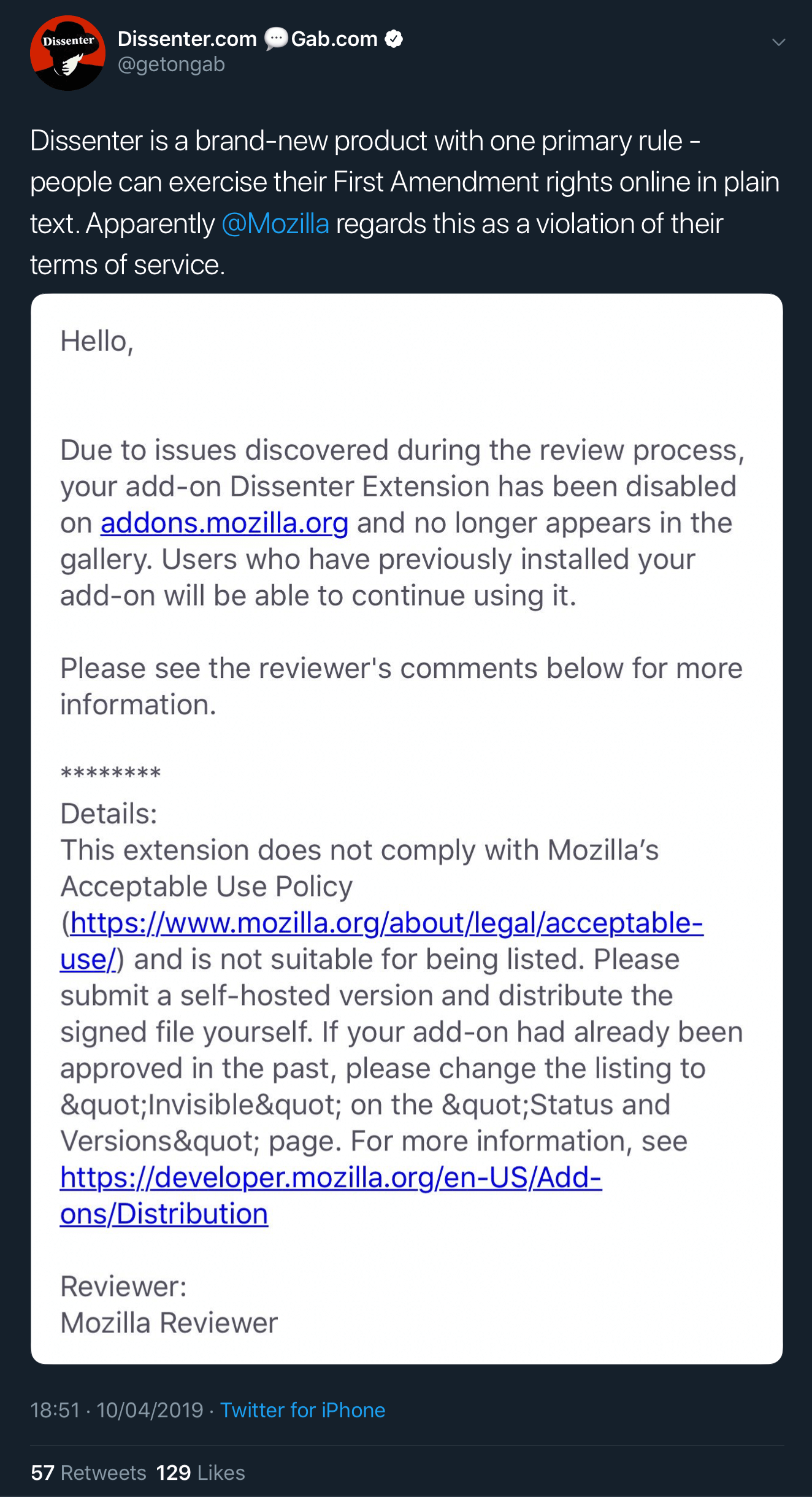 The email informing Dissenter that it has been disabled and will no longer appear in the Firefox extensions gallery.