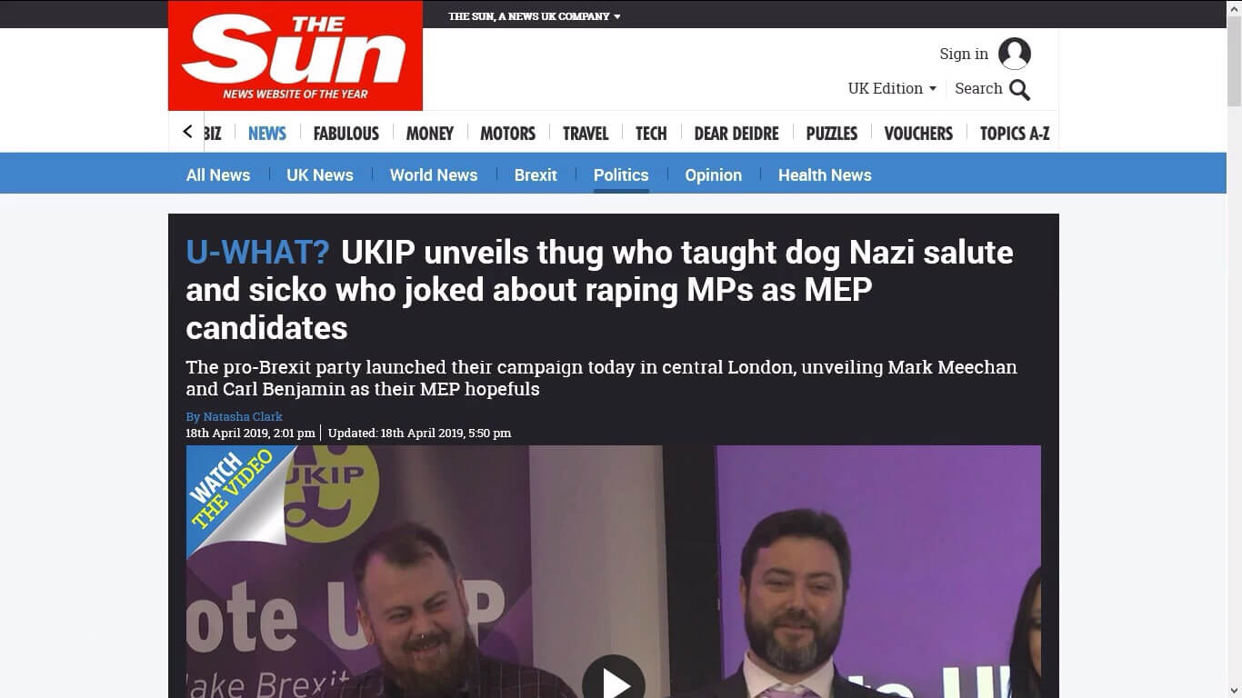 The Sun's article about Carl Benjamin and Mark Meechan being unveiled as UKIP MEP candidates.