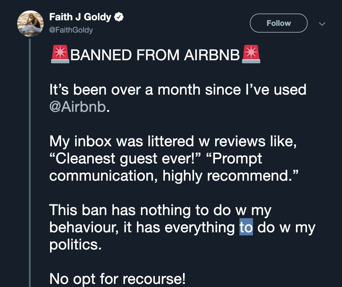 Conservative commentator suddenly Faith Goldy banned from Airbnb