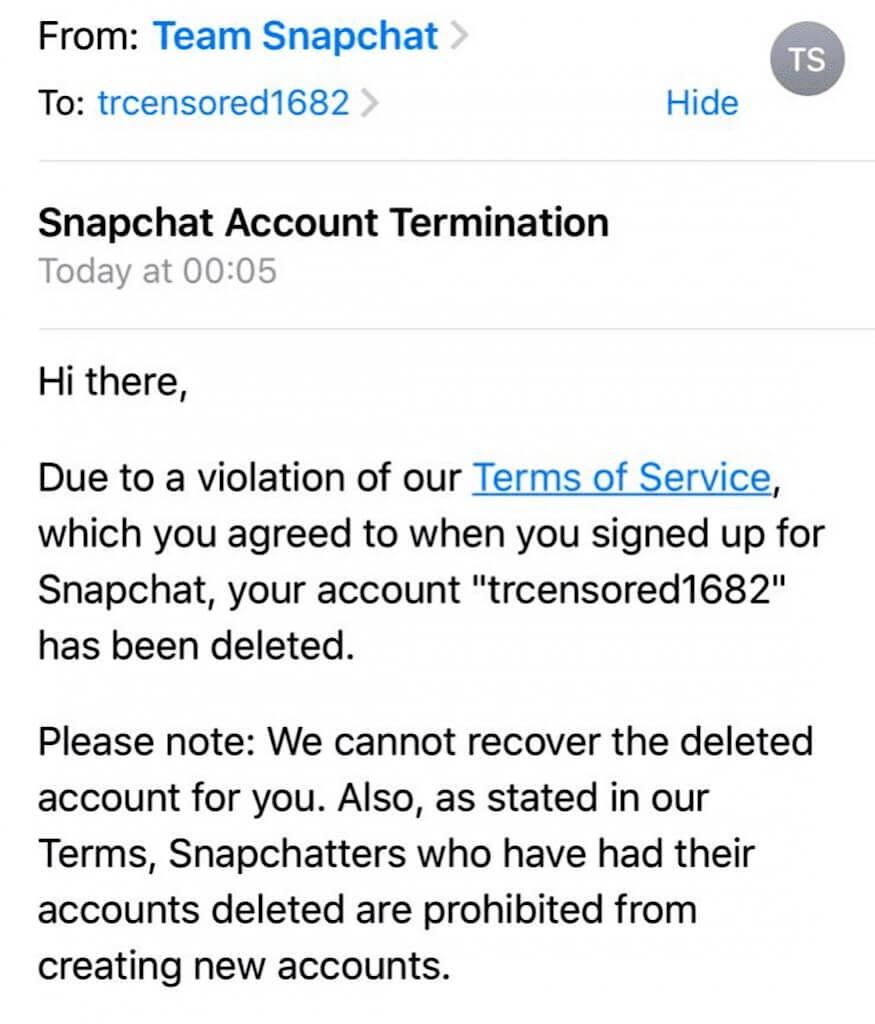 """The """"Snapchat Account Termination"""" email that was sent to Tommy Robinson."""