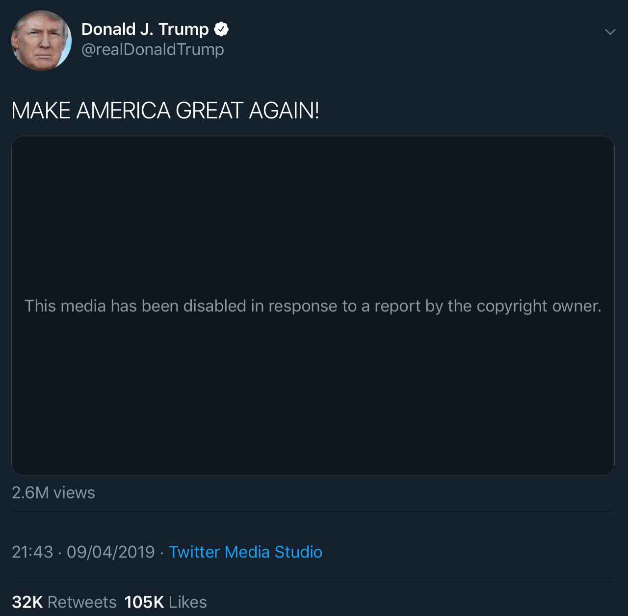President Trump's tweet with the video that was blocked due to a copyright claim from Warner Bros.