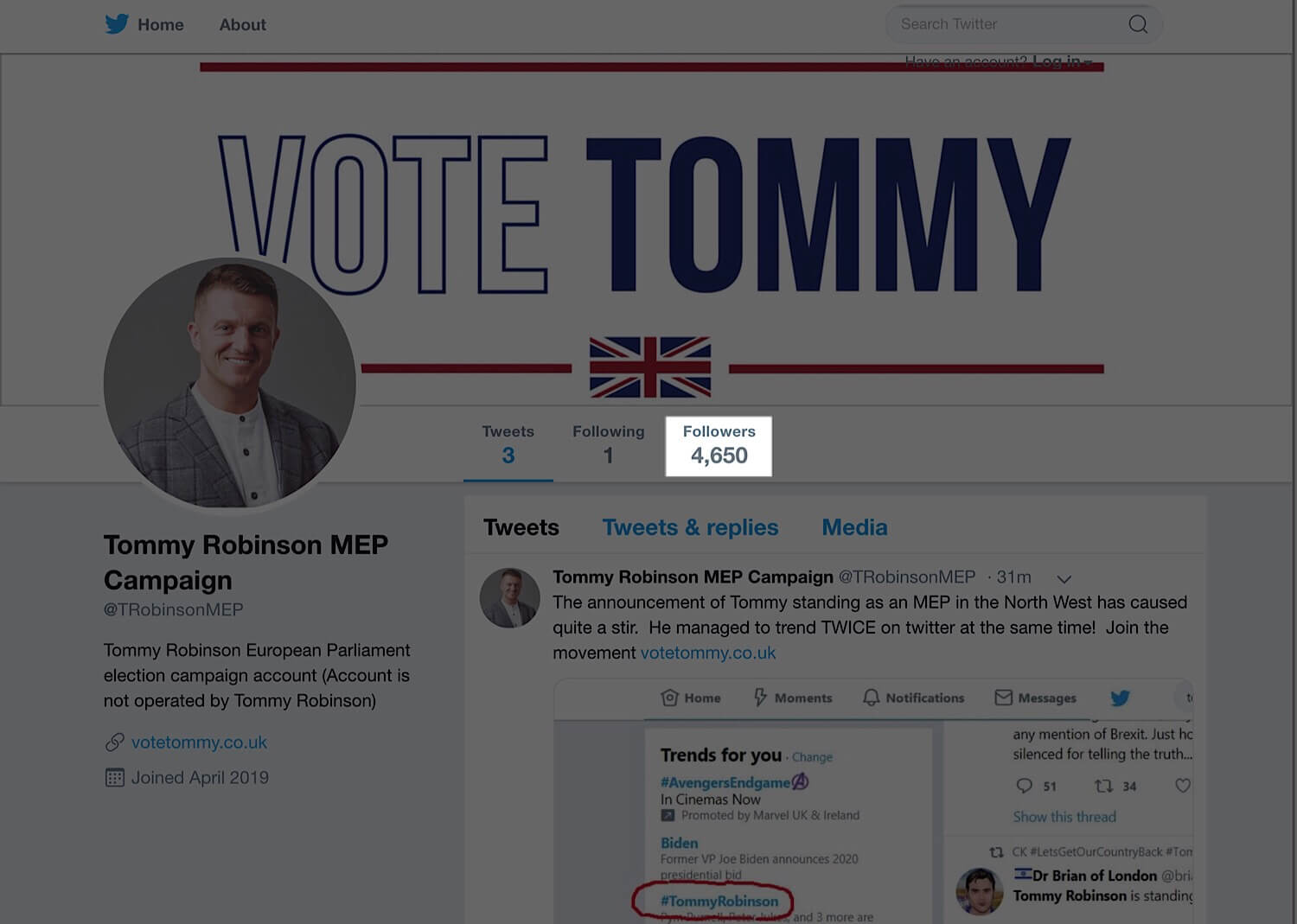 The archived version of Tommy Robinson's MEP campaign Twitter account before it was suspended.